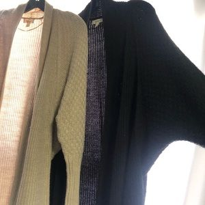 Two Cardigans Set - One Beige / One Black. Size: S